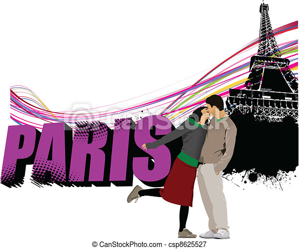 3D word Paris on the Eiffel tower  - csp8625527