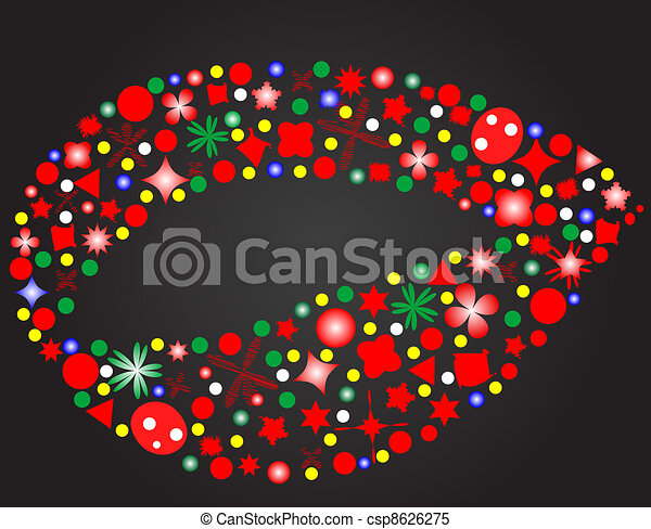 lips of flowers isolated on black background Vector - csp8626275