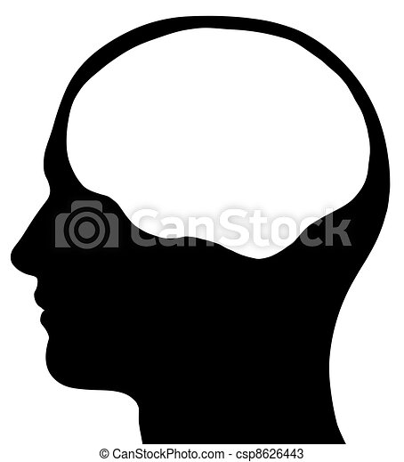 Male Head Silhouette With Brain Area - csp8626443