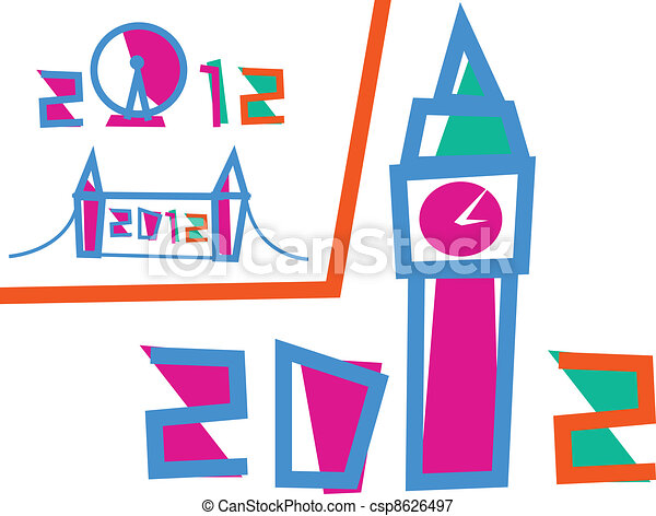 London 2012 Games. Set of 3 Illustrations - csp8626497