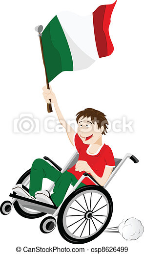 Italy Sport Fan Supporter on Wheelchair with Flag - csp8626499