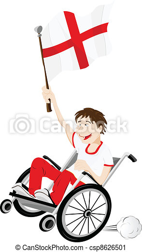 England Sport Fan Supporter on Wheelchair with Flag - csp8626501