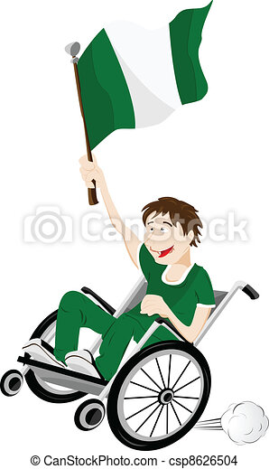 Nigeria Sport Fan Supporter on Wheelchair with Flag - csp8626504