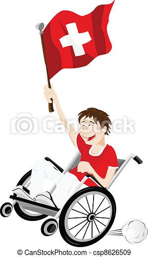 Switzerland Sport Fan Supporter on Wheelchair with Flag - csp8626509