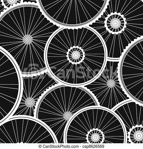 Bicycle background from many white wheels vector - csp8626569