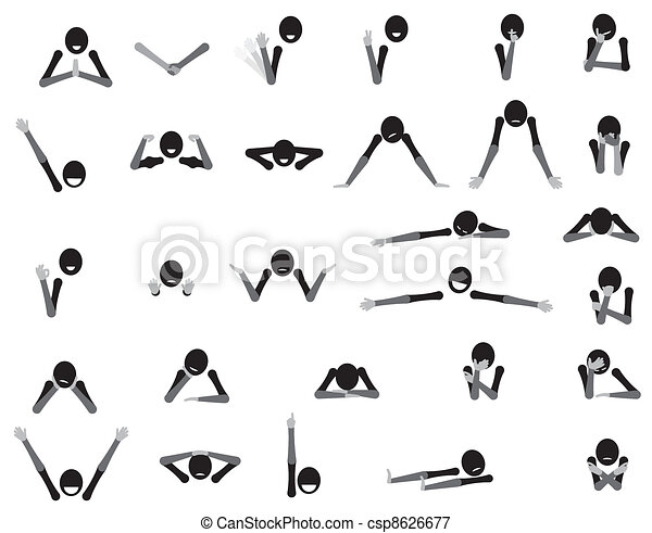Body language cartoon symbols, gestures and emotions - csp8626677