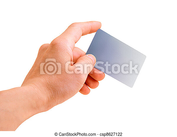 hand with a debit card isolated on white - csp8627122