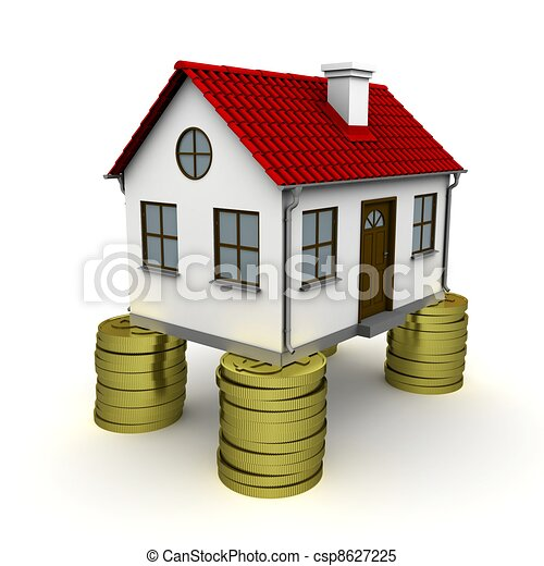 House with red roof stands on a foundation of dollar coins. 3D rendering - csp8627225