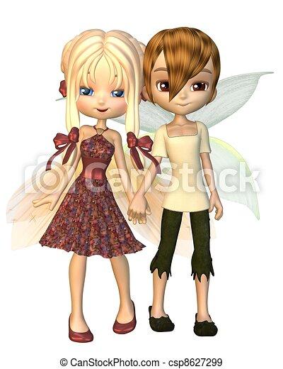 Cute Toon Fairy Friends - csp8627299