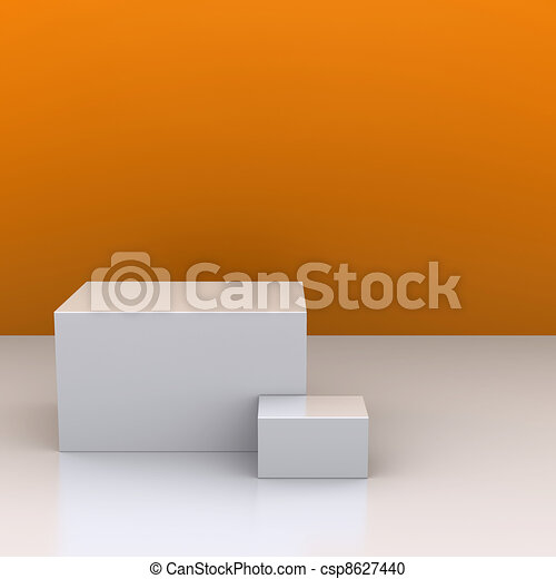 The white boxes in the background of an orange wall. The studio. 3D visualization - csp8627440