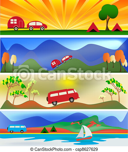 eps vectors of camping and caravaning web banner templates Caravan Camping Sites Camping Caravanning Club Brussels