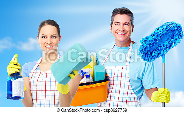Professional cleaners team. - csp8627759