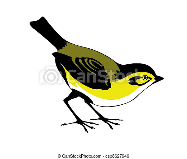 silhouette of the bird on white background - csp8627946
