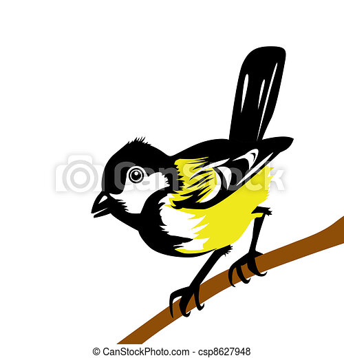 drawing tomtit on white background - csp8627948