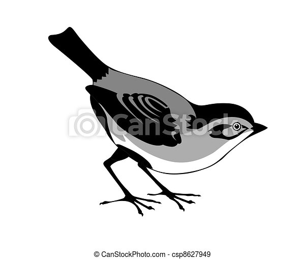 silhouette of the bird on white background - csp8627949