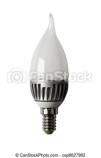 LED energy safing bulb. CA37 E14. Isolated object - csp8627982