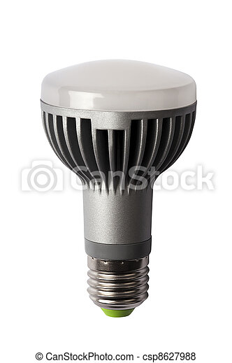 LED energy safing bulb. R63 E27. Isolated object - csp8627988