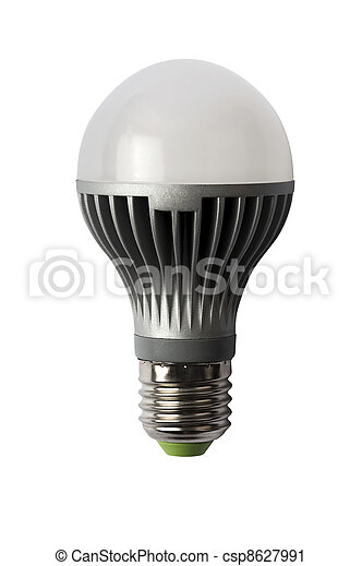 LED energy safing bulb. A60 E27. Isolated object - csp8627991