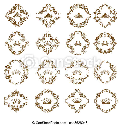 Victorian crown and decorative elements. - csp8628048