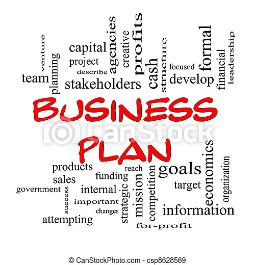 Red Caps Business Plan Word Cloud Concept - csp8628569