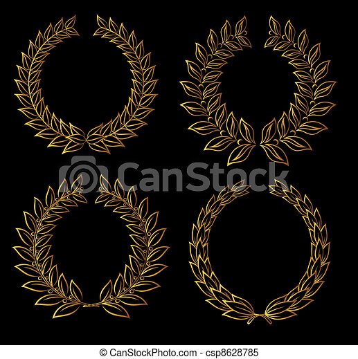 Golden laurel wreaths - csp8628785