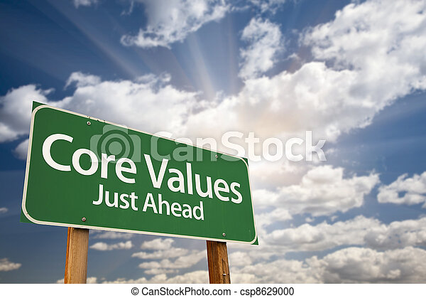 Core Values Just Ahead Green Road Sign and Clouds - csp8629000