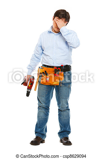 Full length portrait of concerned construction worker - csp8629094