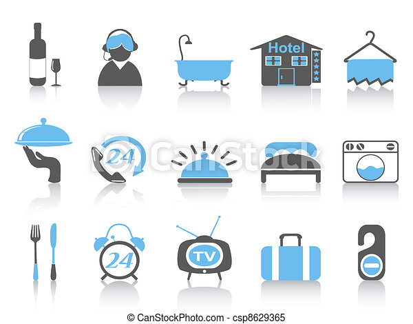 simple color hotel icons - csp8629365