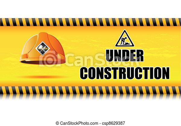 Hard Hat on Under Construction Board - csp8629387