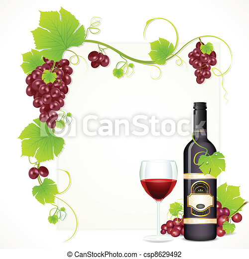Wine Bottle with Glass - csp8629492
