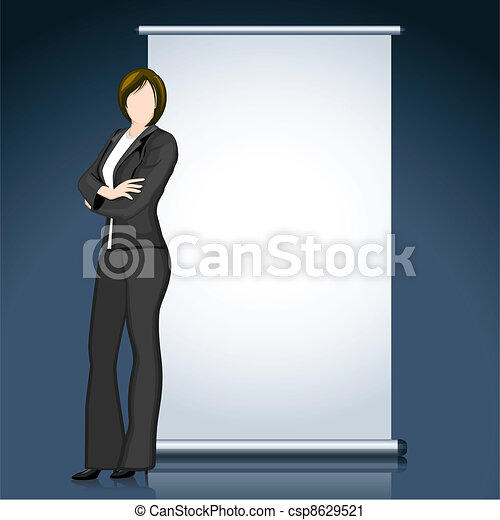 Business Lady with Bill Board - csp8629521