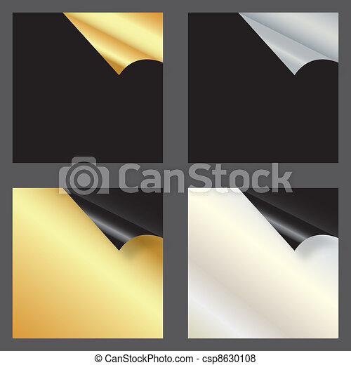 Set of gift cards with rolled corners. vector illustration - csp8630108