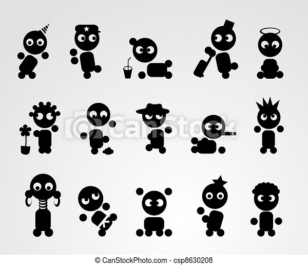 Funny people icons - csp8630208