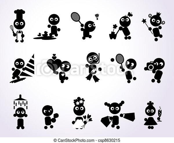 Clipart Vector of Funny people icons csp8630215 - Search Clip Art ...