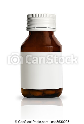 Pill bottle with blank label - csp8630238