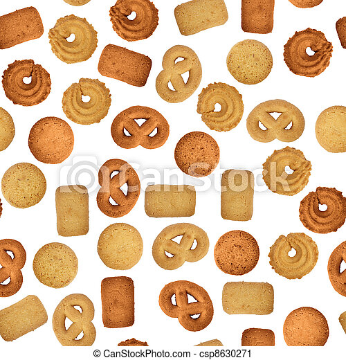 Butter cookies on white - seamless texture - csp8630271