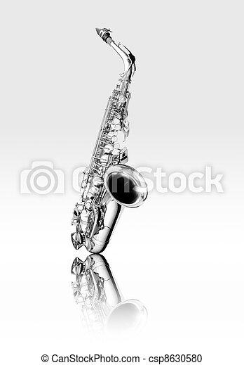 Black and white alto saxophone woodwind instrument  - csp8630580