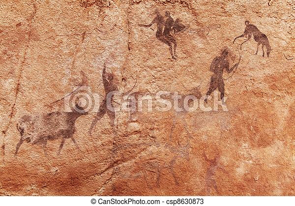 Rock paintings of Tassili N'Ajjer, Algeria - csp8630873