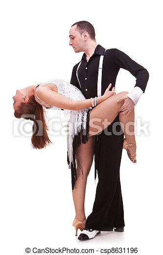 latino couple in a dance pose - csp8631196