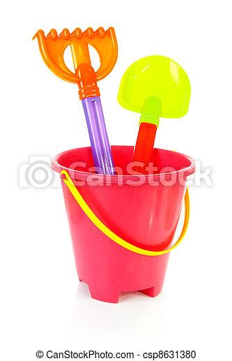 Colorful plastic beach toys - csp8631380