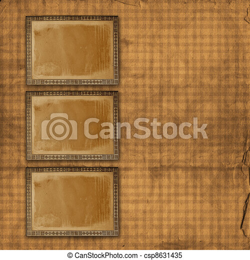 Alienated used paper background  with gold ornamental for announcement - csp8631435