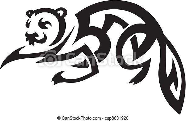 ferret in tribal style - vector illustration - csp8631920