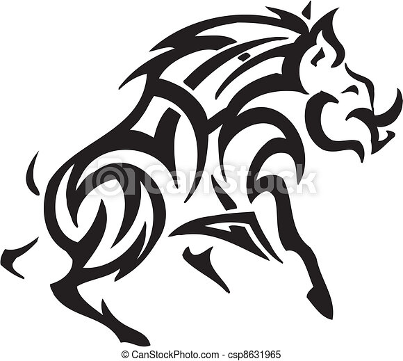 boar in tribal style - vector illustration - csp8631965
