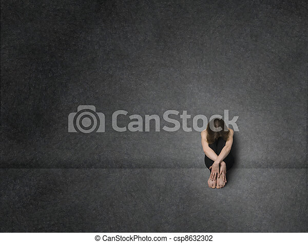 Sad woman, studio shot - csp8632302