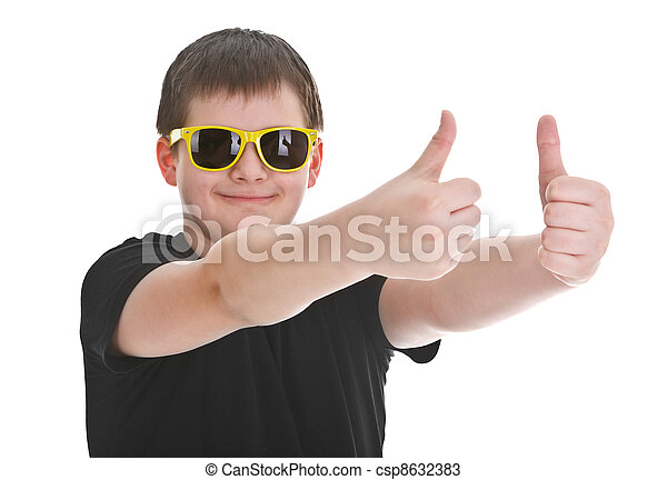 boy showing thumb up sign - csp8632383