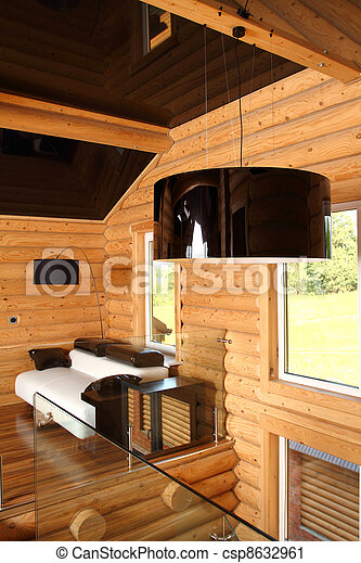 Spacious hall in the wooden house, executed in style hight-tech - csp8632961