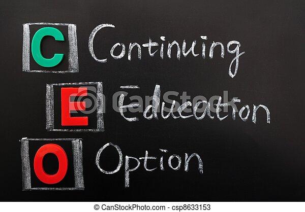 opção, acrônimo,  -, continuar,  CEO, Educação - csp8633153