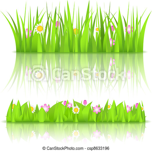 Flowers in Grass Drawing Green Grass With Flowers