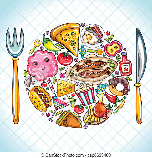 Vector clipart of plate with food beautiful illustration for Art de cuisine plates