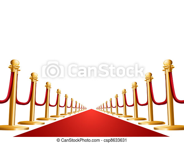 Velvet rope and red carpet illustration - csp8633631